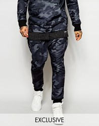 Granted Camo Skinny Joggers With Drop Crotch Blue