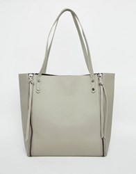 Pieces Tote Bag With Side Zip Detail Grey
