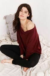 Project Social T Seamed Slouchy Pullover Sweatshirt Maroon