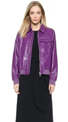 J.W.Anderson Leather Bomber Jacket Purple
