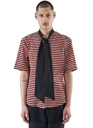 Aganovich Lavalliere Plisse Checked Shirt Red