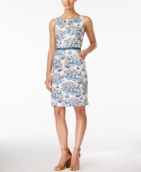 Nine West Sleeveless Belted Printed Sheath Dress Blue Multi