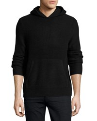 Vince Boiled Cashmere Hooded Sweater Black