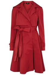 Paule Ka Red Flared Ottoman Trench Coat