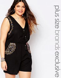 Alice And You Plunge Front Folk Embroidered Romper Black