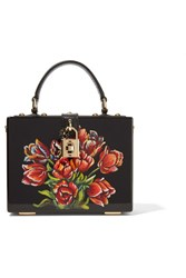 Dolce And Gabbana Leather Trimmed Painted Wood Clutch Black