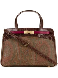 Etro Double Strap Small Tote Brown