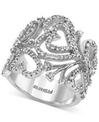 Macy's Effy Final Call Diamond Heart Leaf Ring 9 10 Ct. T.W. In 14K White Gold