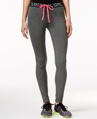 Material Girl Active Logo Drawstring Leggings Only At Macy's Heather Charcoal