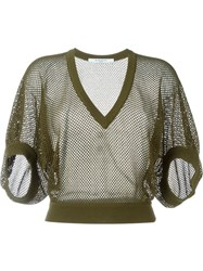 Givenchy Mesh Knit Sweater Green