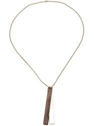 Brunello Cucinelli Logo Dog Tag Necklace Metallic