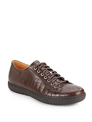 Magnanni For Saks Fifth Avenue Crocodile Embossed Leather Sneakers Brown