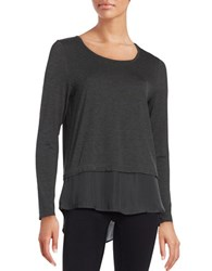 Lord And Taylor Solid Long Sleeve Blouse Charcoal Heather