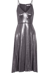 Halston Heritage Lame Midi Dress Gunmetal
