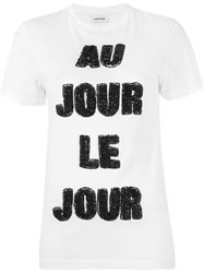 Au Jour Le Jour Sequinned Logo T Shirt White