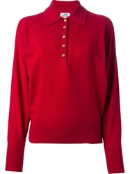Hermes Vintage Long Sleeve Polo Shirt Red