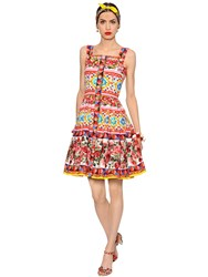 Dolce And Gabbana Floral Print Cotton Poplin Flared Dress