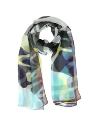 Laura Biagiotti Multicolor Geometric Silk Long Scarf Black White