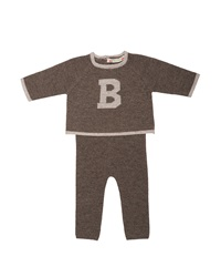 Bonpoint Wool Pajama Top And Pants Gray Size Newborn 6 Months