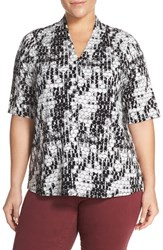 Sejour Plus Size Women's Pleat Shoulder Stretch Knit Tee Ivory Black Dot Print