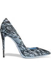 Dolce And Gabbana Lace Covered Patent Leather Pumps Blue