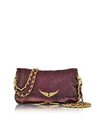 Zadig And Voltaire Rock Deep Dye Lilas Leather Foldable Clutch Purple