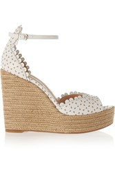 Tabitha Simmons Harp Perforated Leather Espadrille Wedge Sandals White