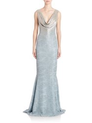 Carmen Marc Valvo Beaded Cowlneck Gown Chambray