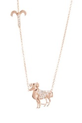 Amorium Rose Gold Plated Sterling Silver Cz Aries Pendant Necklace Metallic