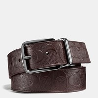 Coach Wide Harness Cut To Size Reversible Signature Crossgrain Belt Mahogany Mahogany