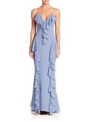 Milly Moriah Silk Ruffle Gown Ice