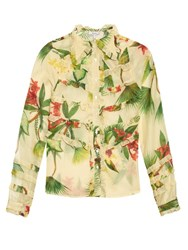 Isolda Marcia Tropical Floral Print Shirt Beige Multi