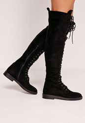 Missguided Flat Lace Up Over The Knee Boots Black Black