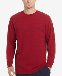 Polo Ralph Lauren Men's Stripe Long Sleeve Crew Neck Waffle Thermal Top Avenue Red Stripe