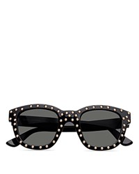 Saint Laurent Lou Studded Square Sunglasses 48Mm Black With Smoke Solid Lens