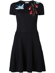 Red Valentino Flower Short Sweater Dress Black