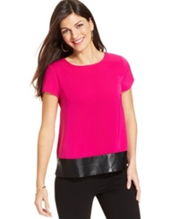 Jones New York Collection Petite Faux Leather Hem Tee Magenta