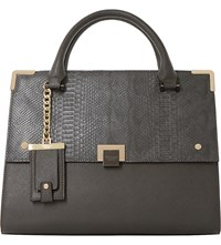 Dune Donovan Faux Leather Flap Over Bag Grey Plain Synthetic