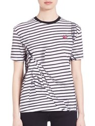 Mcq By Alexander Mcqueen Striped Pleated T Shirt Broken Stripe