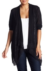 Love On A Hanger Ribbed Crochet Trim Cardigan Plus Size Black
