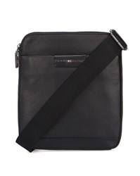 Tommy Hilfiger Black Grained Leather Flat Bag