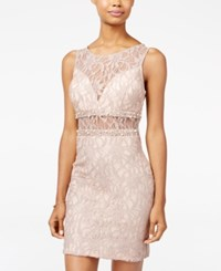 City Studios Juniors' Illusion Glitter Lace Bodycon Dress A Macy's Exclusive Taupe Pink