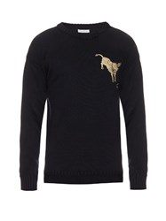 J.W.Anderson Donkey Embroidered Knit Sweater Navy
