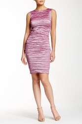 Nicole Miller Sleeveless Ruched Metal Sheath Dress Purple