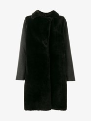 Yves Salomon Double Face Cashmere And Lambskin Coat Grey Black Salmon