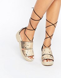 Asos Ticker Tie Leg Espadrille Natural Snake Green