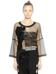 Aviu Oversized Embroidered Tulle Top