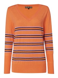Biba Skinny Stripe V Neck Jumper Orange