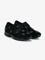 Simone Rocha Pony Fur Embellished Runner Shoes Black Leopard