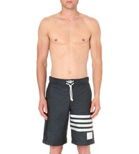 Thom Browne Striped Woven Swim Shorts Navy